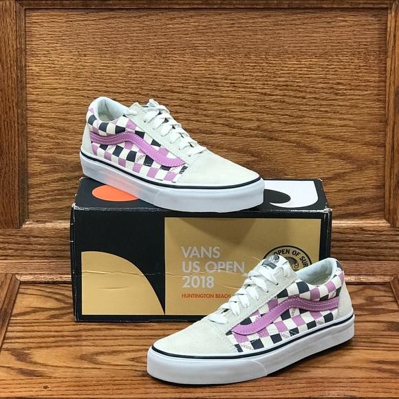55b467c80bd98 Vans Old Skool US Open Violet Checkerboard Shoes NWT